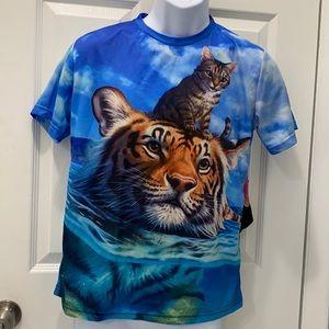 Cat Riding Swimming Tiger T-shirt bright sky M